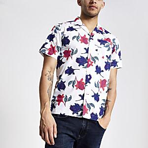 Pepe Jeans - Wit overhemd met print en korte mouwen