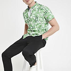 Pepe Jeans - Groen overhemd met tropische print en normale pasvorm