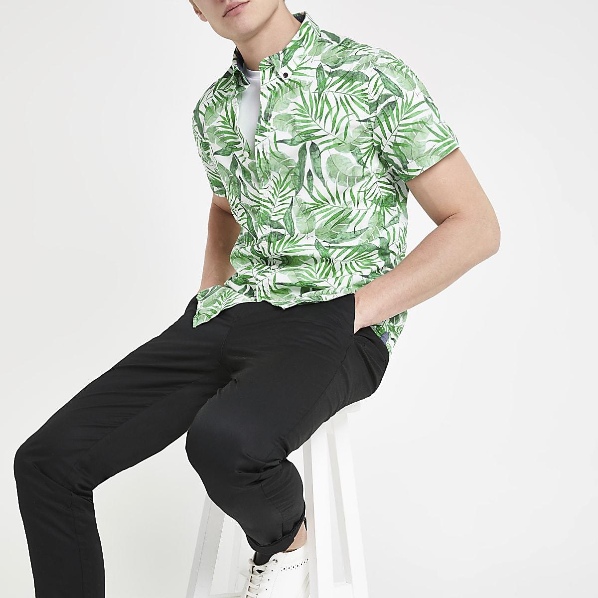 Pepe Jeans - Groen kort overhemd met tropische print