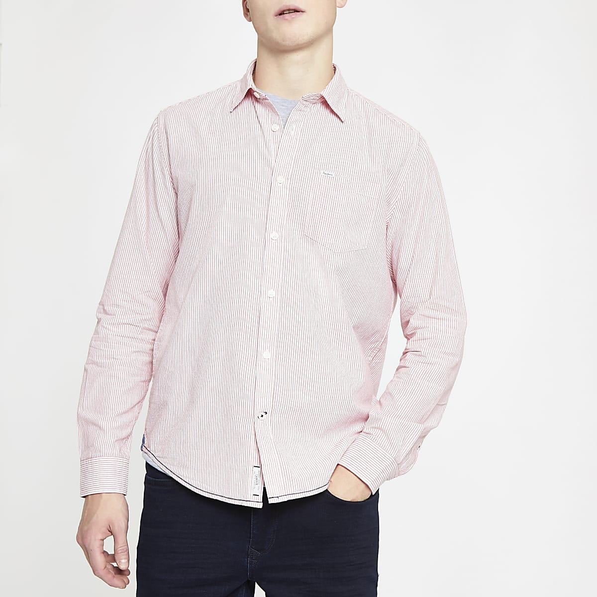 Pepe Jeans – Pinkes Langarmhemd mit Nadelstreifen