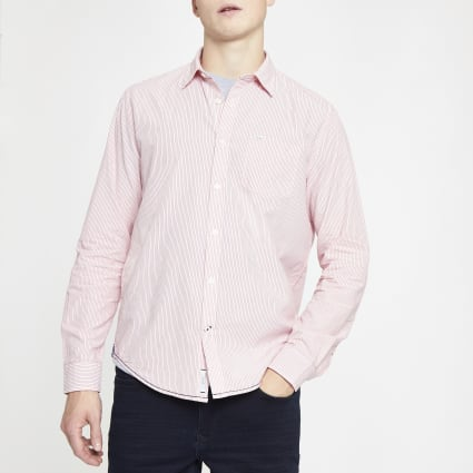 Pepe Jeans pink pinstripe regular fit shirt