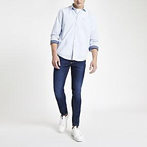 Pepe Jeans – Blaues Regular Fit Nadelstreifhemd