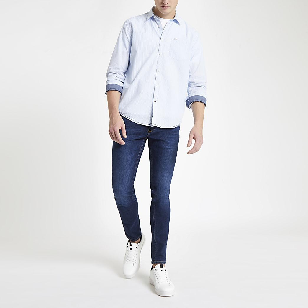 Pepe Jeans blue pinstripe regular fit shirt