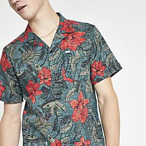 Pepe Jeans - Groen overhemd met bloemenprint en korte mouwen