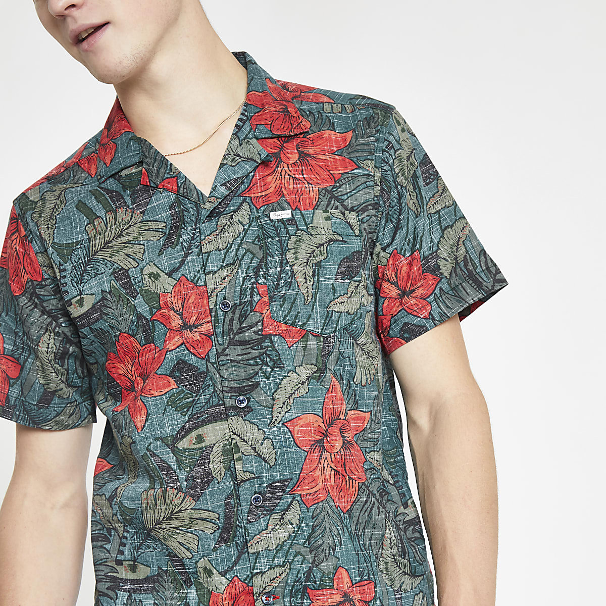 Pepe Jeans - Chemise classique verte fleurie