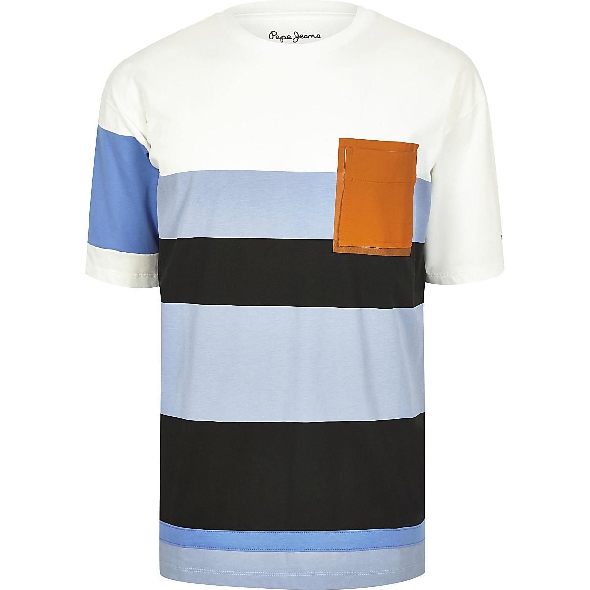 2d607542bdcb Pepe Jeans blue colour block T-shirt - T-shirts - T-Shirts & Vests - men