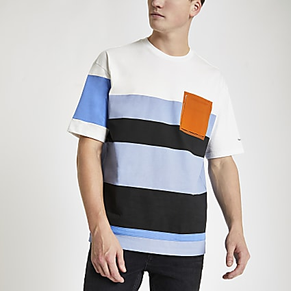 Pepe Jeans blue colour block T-shirt