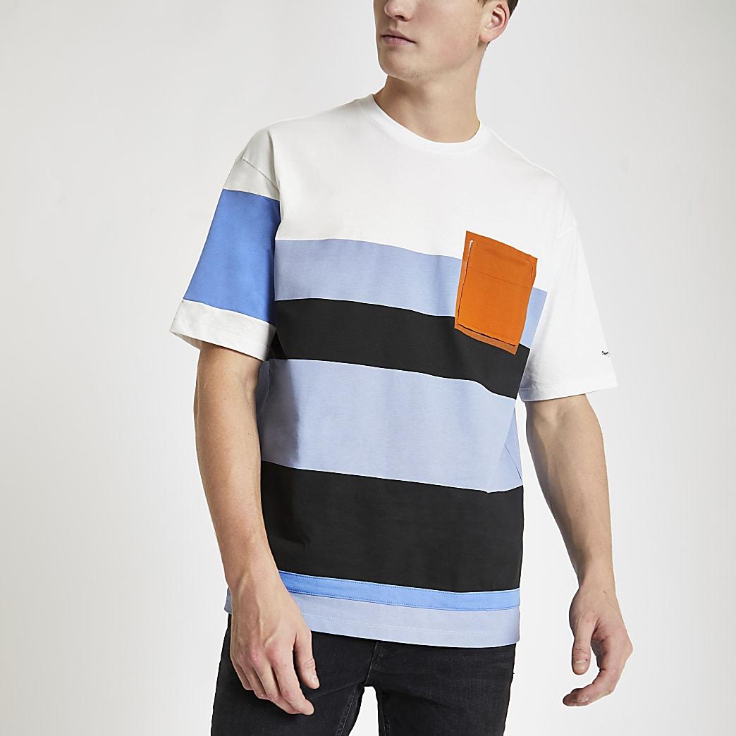 Pepe Jeans blue colour block T-shirt