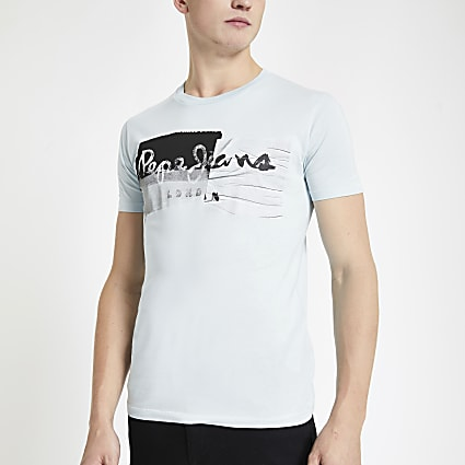 Pepe Jeans light green logo print T-shirt
