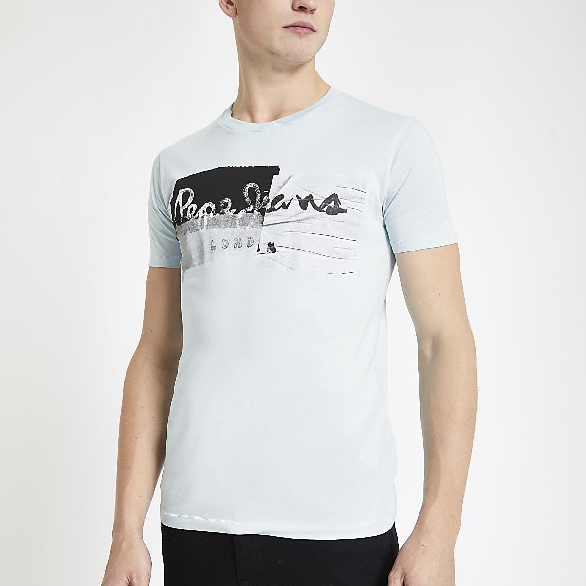 Pepe Jeans – T-shirt vert clair à logo