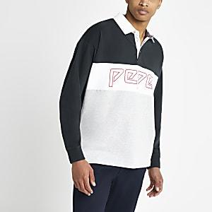 Pepe Jeans – Polo gris à manches longues