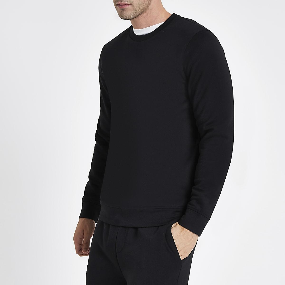 Black Crew Neck Long Sleeve Sweatshirt - Sweatshirts - Hoodies -8783
