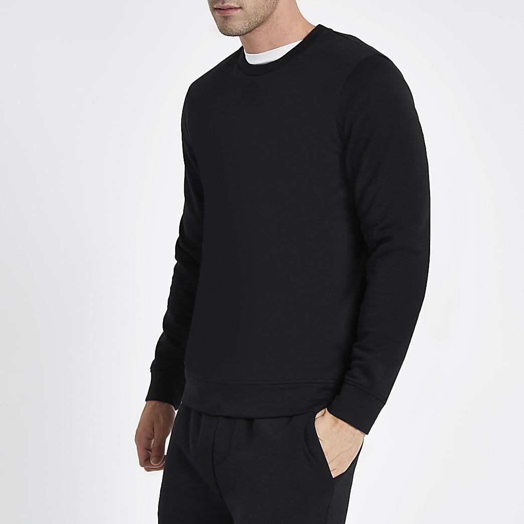 Zwart sweatshirt met ronde hals en lange mouwen