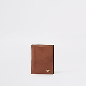 Tan leather fold out card holder