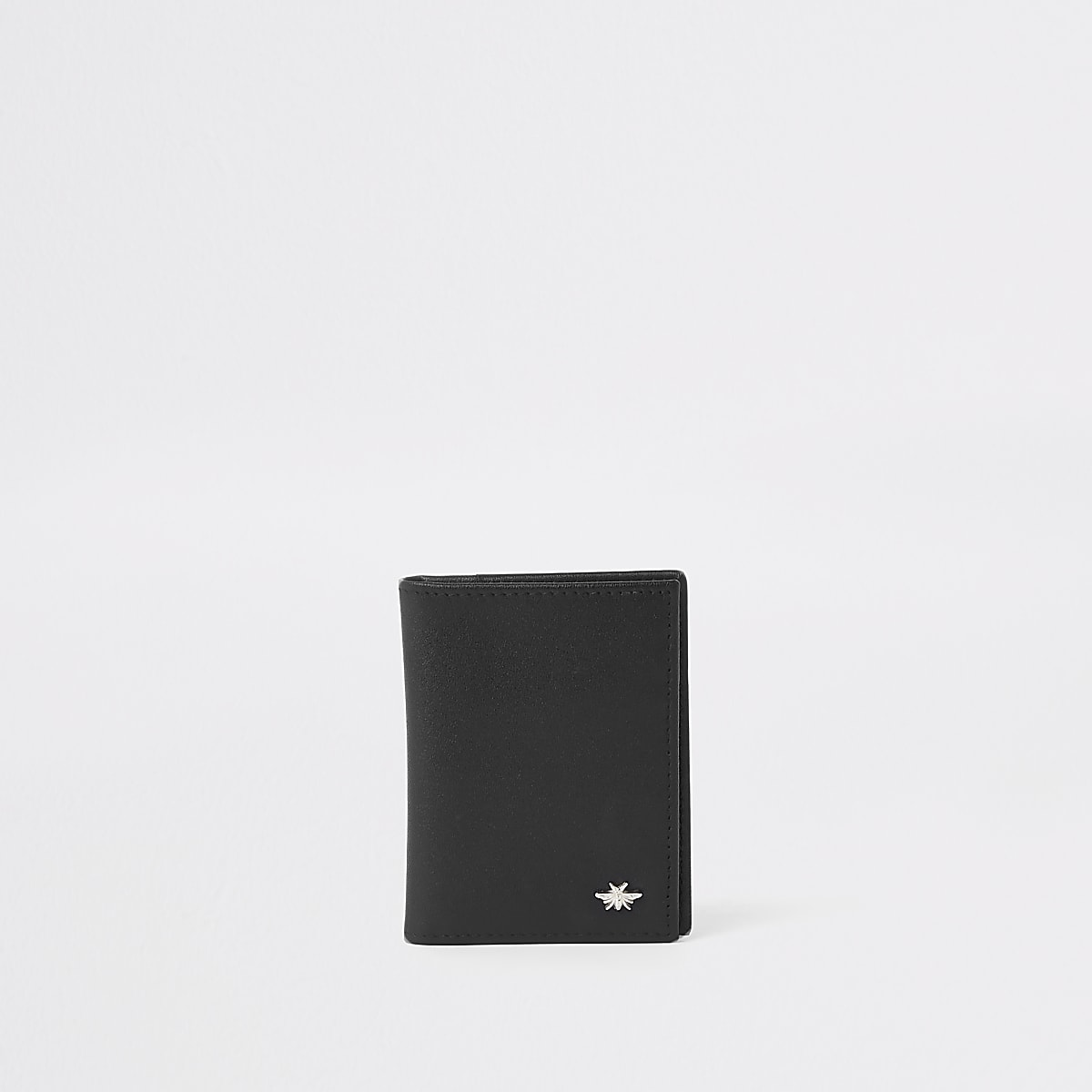 Black leather wasp fold out card holder