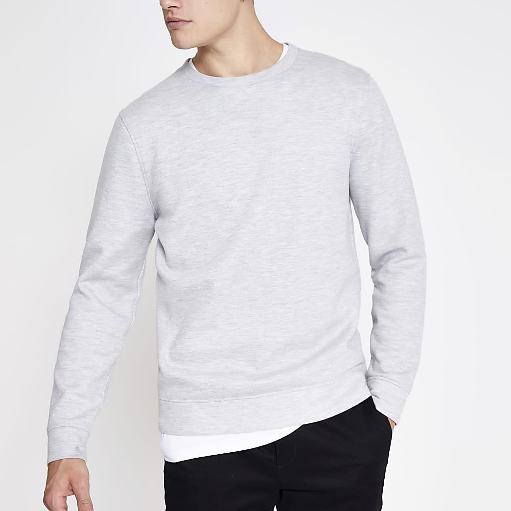 Grijs gemêleerd sweatshirt met ronde hals