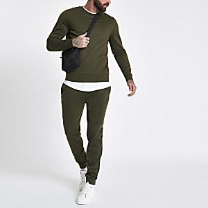Dunkelgrünes, langärmeliges Sweatshirt mit Rundhalsausschnitt