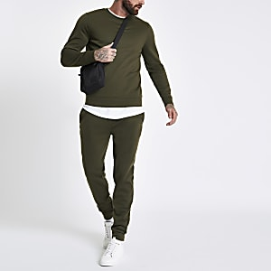 Donkergroen sweatshirt met ronde hals en lange mouwen