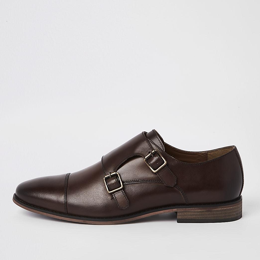 Dark brown leather monk strap derby shoes