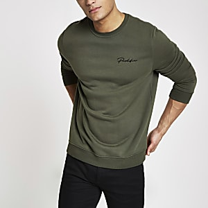 Kakigroen slim-fit sweatshirt met 'Prolific'-print