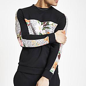 Schwarzes Slim Fit Sweatshirt mit Blumen- und Leopardenmuster