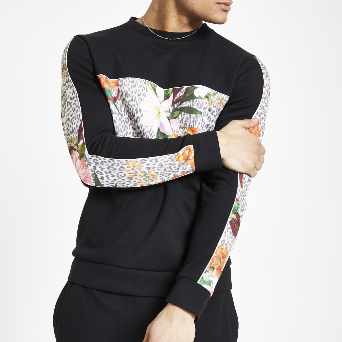 Black leopard floral slim fit sweatshirt