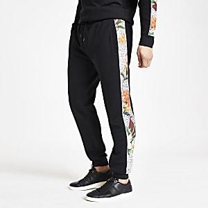 Black leopard floral print slim fit joggers