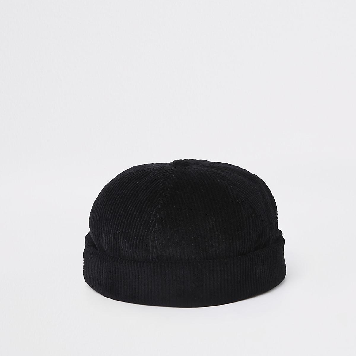 Black cord docker beanie hat