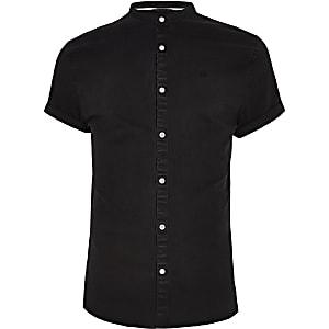 Chemise en denim noire à col grand-père