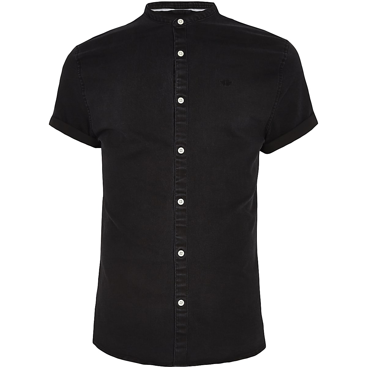 Black grandad collar denim shirt