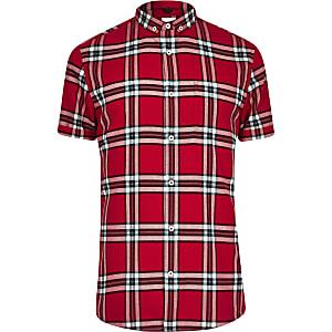 Big and Tall –  Rot kariertes, kurzärmeliges Hemd