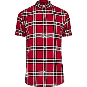 Big & Tall – Chemise manches courtes à carreaux rouge
