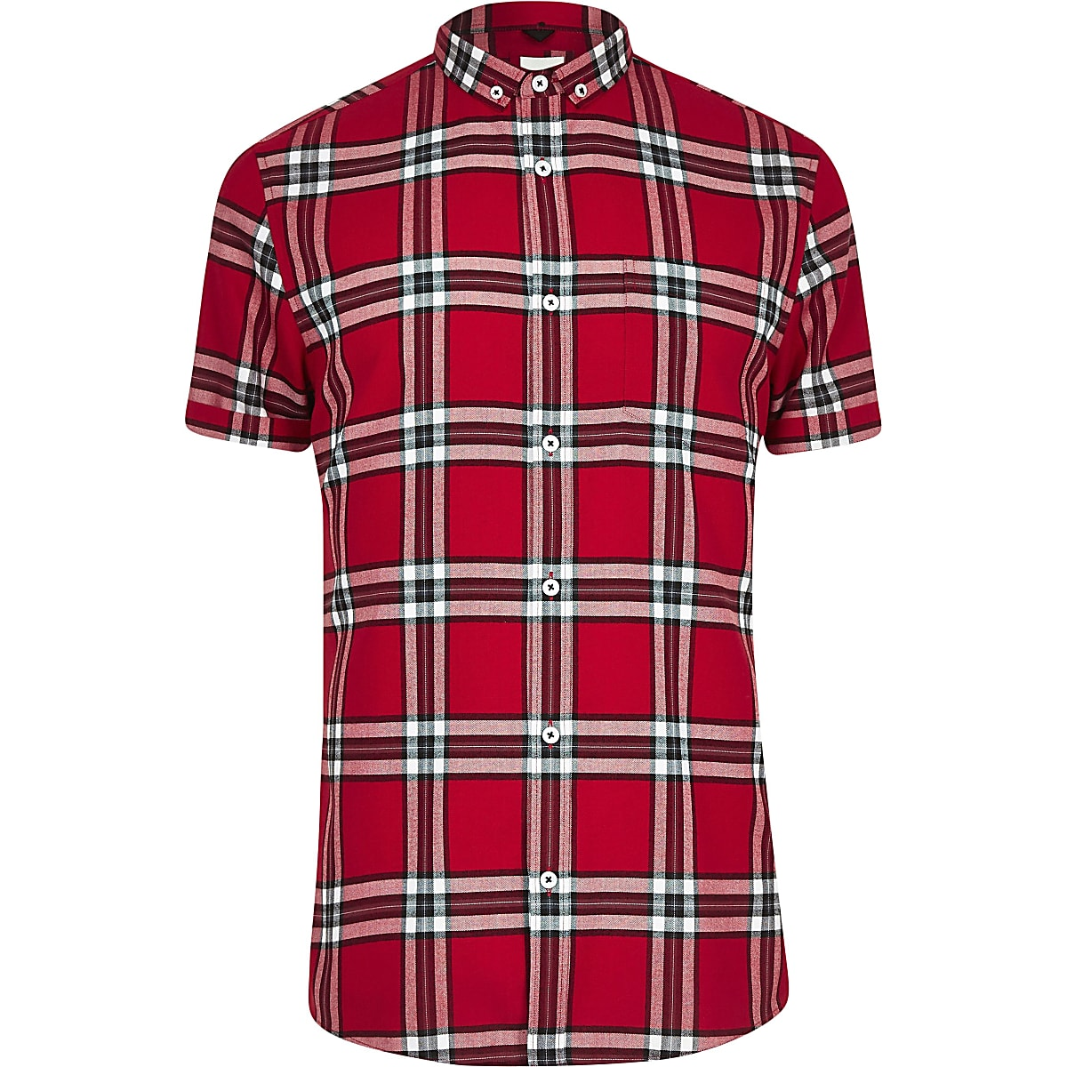 Big and Tall - Rood geruit overhemd met korte mouwen
