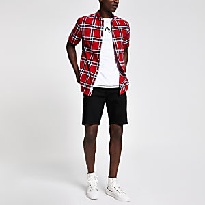 Red check print short sleeve shirt