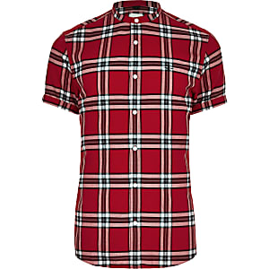 Red check grandad collar slim fit shirt