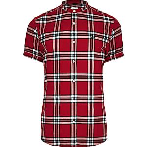 Chemise slim à carreaux rouge à col officier