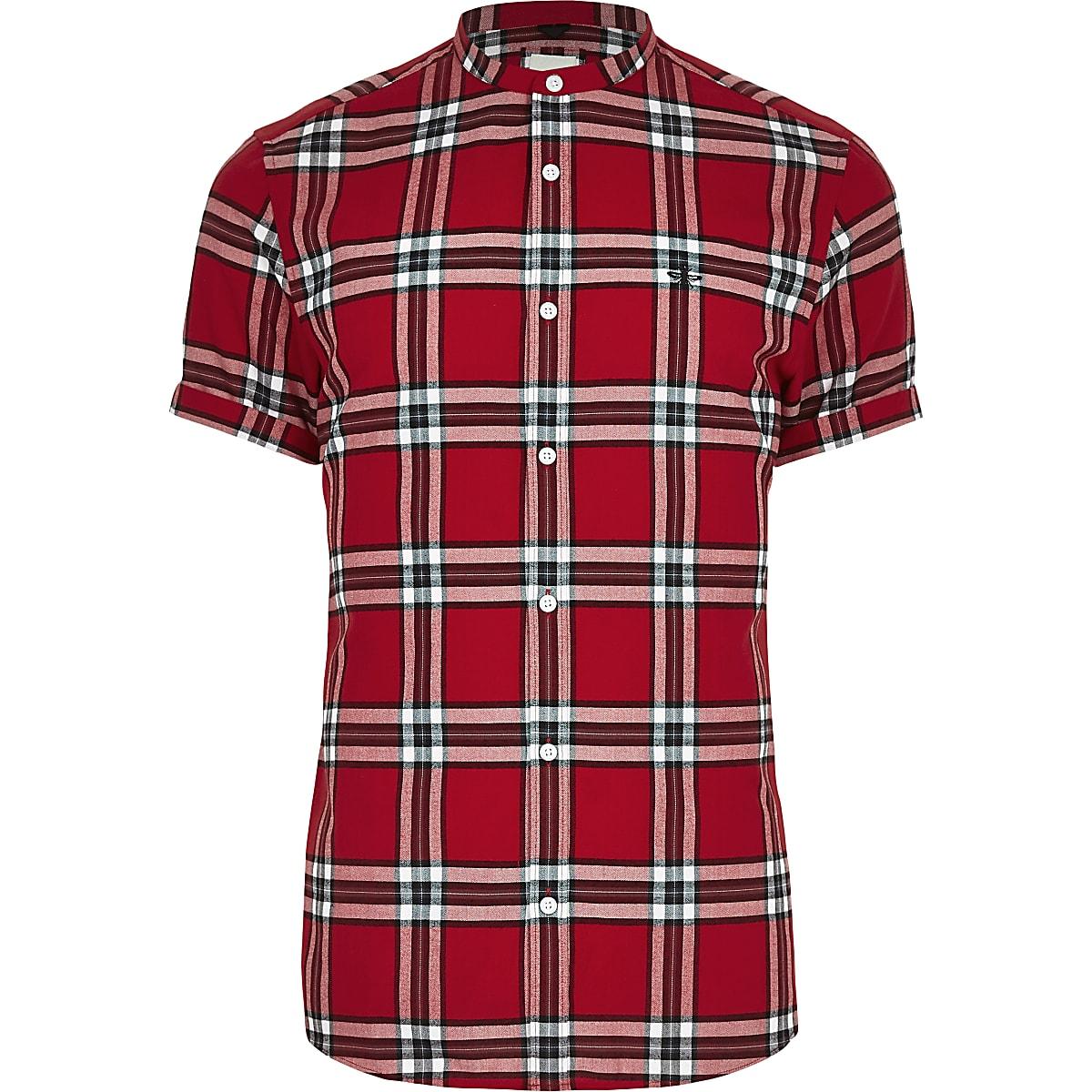 Rood Overhemd Slim Fit.Rood Geruit Slim Fit Overhemd Zonder Kraag Overhemden Met Korte
