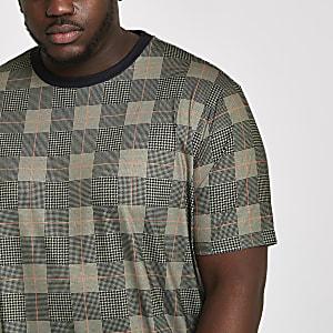 Big & Tall – Braunes, kariertes Slim Fit T-Shirt