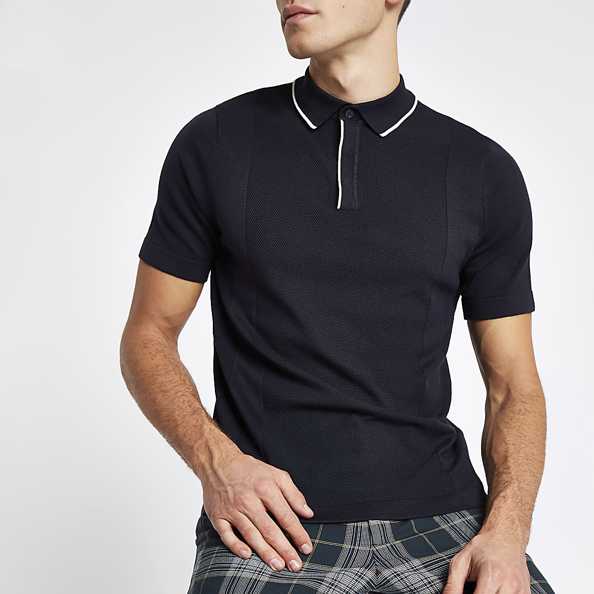 Navy tipped slim fit knitted polo shirt