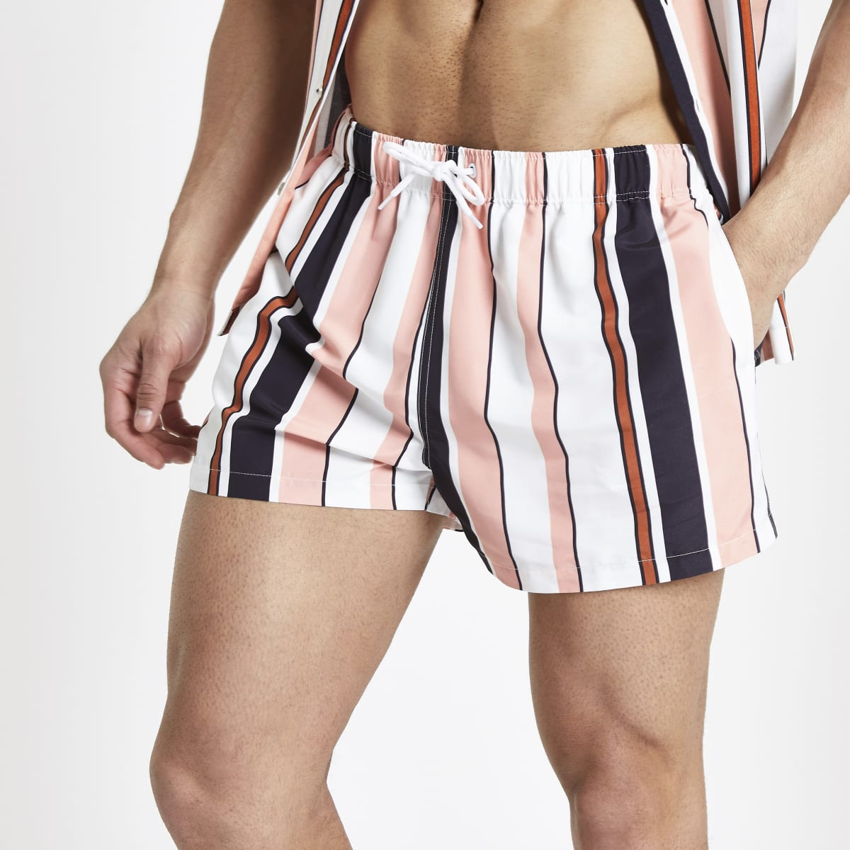 Coral stripe swim shorts
