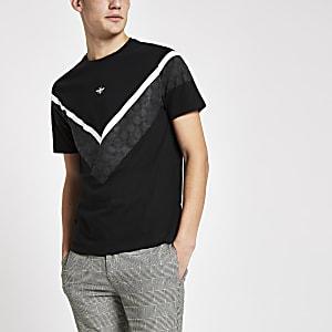 T-shirt ajusté noir avec chevron à carreaux