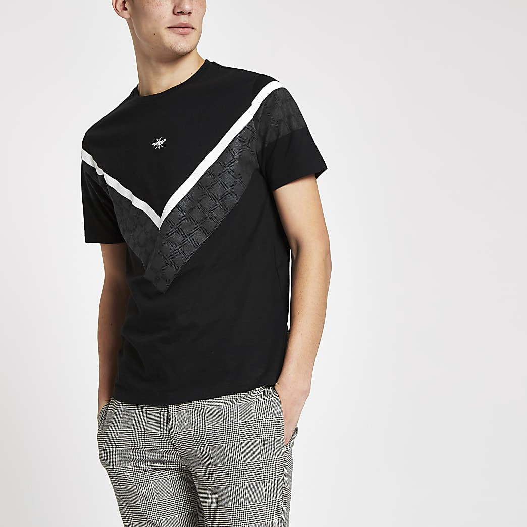 Black muscle fit chevron check T-shirt