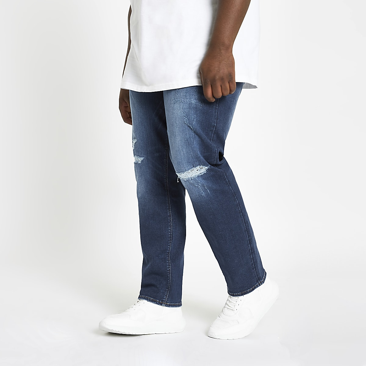 Big and Tall mid blue ripped slim fit jeans