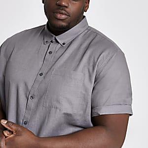 Big and Tall - Grijs linnen overhemd met korte mouwen