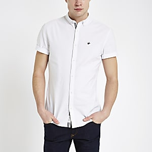 Chemise en oxford blanche à manches courtes