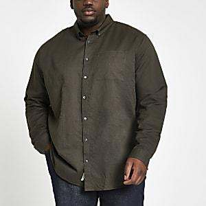 Big & Tall – Langärmeliges Leinenhemd in Khaki