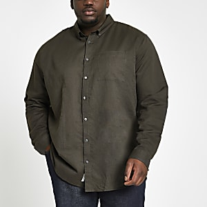 Big and Tall – Chemise en lin kaki à manches longues