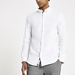 Weißes Muscle Fit Oxford-Hemd