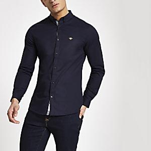 Marineblauw aansluitend Oxford overhemd