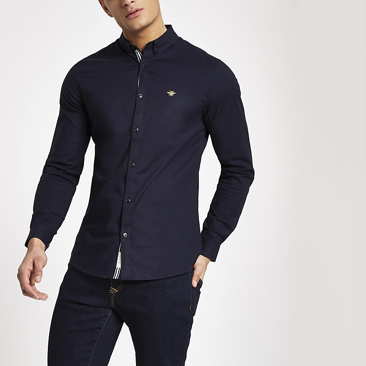 Navy muscle fit Oxford shirt
